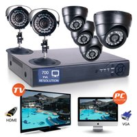 "Wholesale 8ch D1 Video - 1 4"" CMOS 8CH Full D1 H.264 High Resolution Surveillance HDMI Video DVR Recorder Network 6PCS CCTV Camera 700TVL motion detection"