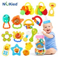 Wholesale Teether Rattle Set - NUKied 20pcs year Newborn Baby Grade Chewable Silicone Teether Cartoon Develop Intelligence Hand Bell Rattles Mobile Phone Toy