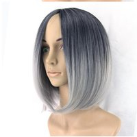 Wholesale Short Gray Wigs - Synthetic Hair Short Straight Grey Bob Wig Ombre Lace Front Hand Tied Beyonce Glueless Kanekalon Hair Gray Wig For Black Women