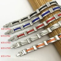 Wholesale Silicone Cuffs - 316L Stainless Steel Bracelet 1 Piece Retails Multicolor Silicone Classical Design Fashion Style 9mm Cuff Link Chain For Man and Women