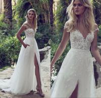 Wholesale beach wedding bridal party dresses resale online - A Line Lace Wedding Dresses Sheer Illusion Bodice Jewel Court Train Vintage Garden Beach Boho Party Bridal Gown