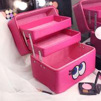 Wholesale Aluminum Glitter Case - Wholesale- Glitter Eyes Multilayers Cosmetic Box Women Makeup Case Professional Waterproof Upscale Beauty Case Ladies Travel Organizer Bags