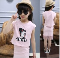 Wholesale Ladies Short Skirt Suits - Lady Style Big Girls 2016 Summer Clothing Sets Children T-shirt Tops+Tassels Skirt 2pcs Set Kids Outfits Fashion Girl Clothes Suits
