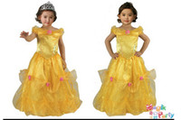 Wholesale Female Child Stars - Kid princess belle costume beauty and the beast costume kid belle cosplay fantasy halloween costumes for children dress custom