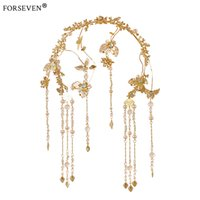 Wholesale Chinese Wedding Hair Accessories - 2017New Butterfly Shape Gold Crystal Tiara Head Chain For Bride Hair Accessories Handmade Chinese Wedding Women Hair Jewelry