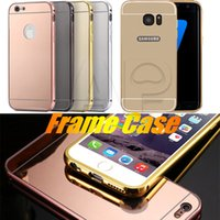 Wholesale Aluminium Bumper Metal Case - For Iphone 7 Plus Mirror Case Gold Metal Aluminium Bumper Hybrid Hard Phone Back Case Cover For Iphone 6S Plus Samsung S7 Galaxy
