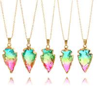 mücevherat için renkli zincirler toptan satış-Moda Üçgen Ok Doğal Taş Üç Renkli Arrowhead Kristal Druzy Kolye Altın Zincir Marka Takı Kadınlar için Noel Hediyesi