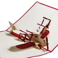 ingrosso disegni handmade di biglietti di auguri di compleanno-Commercio all'ingrosso- (10 pezzi / lotto) 2015 nuovo disegno Vintage Aircraft Greeting Cards Handmade creativo 3D Pop-Up Airplane Birthday Card per i bambini