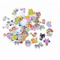 швейные кнопки бесплатная доставка оптовых-Смешанные 2 отверстия декоративные кнопки Прекрасный мультфильм животных деревянные кнопки швейные скрапбукинга F1669