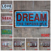 Wholesale wish paintings for sale - Group buy LOVE Dream Smile Home Wish Live Seek the Unknown vintage Nostalgia metal tin sign souvenir license plates retro number plate metal craft