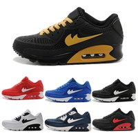 2017 Novos sapatos de corrida Nike Air Max Cushion 90 KPU Men Women High-quality Sneakers Cheap All black Sports Shoes Tamanho de transporte livre 36-45