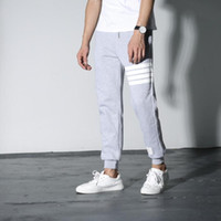 kahverengi pantolon toptan satış-Toptan-yeni özel dağıtım THOM BROWN klasik kırmızı ve mavi çizgili dokuma katlanır takım dimi pantolon Kırpılmış Pantolon