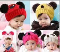 ingrosso regali della novità del panda-Cute Baby Girl Boy Beanie bambino Inverno caldo maglia lana Crochet Panda animale Cappelli neonato Berretto Beanie usura novità regalo all'ingrosso accessorio