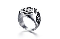 Wholesale Fantastic Wedding - Stainless Steel All-see Eye Ring for Men Vintage Punk Style Top Quality Biker Fantastic anel masculino