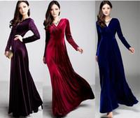 kış için maxi elbiseler toptan satış-Uzun Elbise Artı Boyutu S ~ 3XL Kadınlar Kış Elbiseler Uzun Kollu V Boyun Maxi Kadife Kadınlar Seksi Parti Elbise