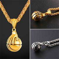 Wholesale Design Bounce - U7 Jewelry Basketball Pendants Necklace Bounce The Ball Design Sports Fashion 18K Gold Plated Stainless Steel Chain Men Bijoux GP2690