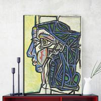 pinturas abstratas retratos venda por atacado-ZZ863 cópias da lona arte Picasso Retrato Abstrato Pinturas Impressões de Lona Arte Da Parede Imagem para home decor wall art unframed