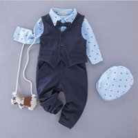 Wholesale British Style Jumpsuit - British Style Gentleman Clothing Sets Solid Color Cotton Clothing Suits High Quality Boy Baby Fashion Casual Jumpsuit Sets