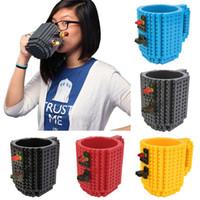 Wholesale Green Coffee Mugs Wholesale - 10pcs lot Build-On Brick Mug Lego Type Building Blocks Coffee Cup DIY Block Puzzle Mug free shipping