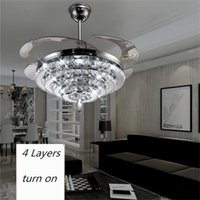 LED Crystal Chandelier Fan Lights Invisible Fan Crystal Lights Sala de estar Quarto Restaurante Ventilador de teto moderno 42 polegadas com controle remoto