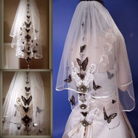 Wholesale Wedding Veils Butterflies - Short Two Layers Wedding Veils With Butterfly Appliques Soft Tulle Elbow Length Bridal Accessories Custom Made Veil For Wedding With Comb