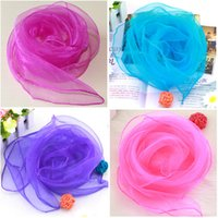 Wholesale Chiffon Solid Color Scarfs - Hot Sale New 60*60cm Small Silk Square Scarves Pure Silk Chiffon Solid Color Dance Show Scarf New Windproof Women Scarf 20 Colors