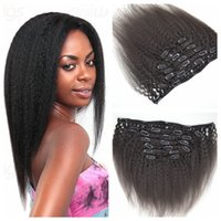 Wholesale Women Hair Extensions - G-EASY Kinky straight Clip human hair extensions 7pcs 120g kinky straight clip in human hair extensions for black women