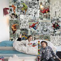 wandgemälde wohnzimmer großhandel-Marvel Comics Wallpaper Fototapete 3D Wallpaper für Wände Kinder Schlafzimmer Wohnzimmer Dekor TV Hintergrund Wandverkleidung Super Hero Wallpaper