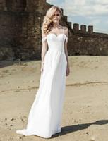 Wholesale Vestido Noiva Corset - Beach Wedding Dress Sexy New Spaghetti Straps Chiffon Bridal Gowns Off the Shoulder Vestido de Noiva Corset Lace Up Modern W008 Cheap