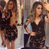 Wholesale Ladies Short Beaded Dress - 2016 Black With Sleeves Cocktail Dresses Lace Deep V-neck Backless Short Mini Sexy Summer Special Occasion Prom Party Gowns For Ladies