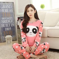 Wholesale Women Sleepwear Pajama Set - Wholesale Pajamas Sets Spring Autumn 15 Style Thin Carton Generation Women Long Sleepwear Suit Home Women Gift Female SleepTop