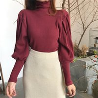 Wholesale Half Tights - Hot 2017 New High Quality Brand Fashion All-match Sweater Coat Tight Knits Christmas Winter Short Half Female Long Sleeved Shirts Classic