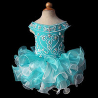 Wholesale Cupcake Style Pageant Dresses Girls - Cupcakes Girl Pageant Dresses 2016 Style Blue Off Shoulder Organza Beaded Mini Fast Shipping Flower Girls Gowns Cheap Custom Made