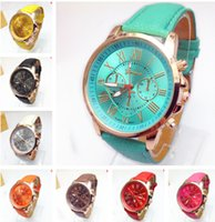 Wholesale Digital Leather Watch - Luxury Geneva Leather PU Quartz Watch Roman Numerals Analog Quartz Watches Exquisite Colorful Wristwatch For Christmas Birthday Gift