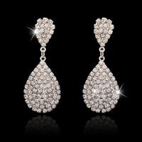Wholesale Teardrop Acrylic Diamonds - New Arrival ! Fashion Silver Diamond Teardrop-shaped Earrings Sparkling Christmas Earring 5*2.3CM Women Jewelry Wholesale Free Shipping