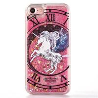 Wholesale Hard Plastic Horse - Cute Cartoon 3D horse Case Liquid Glitter Fluorescent Dynamic Quicksand Hard PC Back Cover For iPhone 5 5S SE 6 6s 7 plus Phone Cases Cover