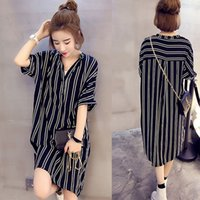Wholesale Cheap 3xl Short Dress - Summer casual dress plus size woman fashion dress top lady striped cheap long dress for womens clothe sexy elegant black dress