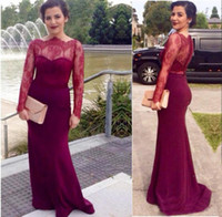 Wholesale Cheap Nude Formal Dresses - Burgundy Long Sleeve Lace Mermaid Prom Dresses 2016 Cheap Mother Dress Lace Sexy Sweep Train Elegant Formal Evening Dress Party Dresses
