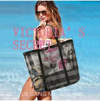 Wholesale Carry Golf Bags - landy house Summer Beach bag Women Canvas Big Shoulder Bags Fashion Grid Casual Tote Ladies Large Capacity Folding Carry Travel Shopping Bag
