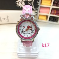 Wholesale Kitty Girl Vintage - 2016 New Hello Kitty Watches Fashion Ladies Quart Watch Vintage Kids Cartoon Wristwatches Girl Brand Quartz women watches Cartoon Watch