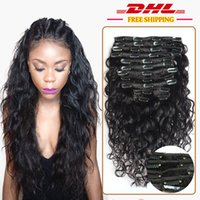 Wholesale Virgin Hair Clip Wavy - 7A Grade 100% Brazilian Virgin Remy Clips In Human Hair Extensions 120g Full Head Natural Black Wet and Wavy Water Wave Clips in