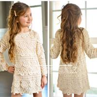 Wholesale Girls Kids Crochet Dress - Baby Girls Crochet Lace Dresses 2017 Kids Girls Princess Hallow Out Dress Girl Autumn Winter Christmas Clothing babies clothes