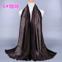 Wholesale Scarves Shimmer - women's solid color shimmer cotton scarf shawls headband glitter muffler hijab wrap headband muslim scarves