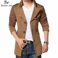 Wholesale winter trench coat big men - Fall-Seven Joe.New Fashion Men Trench Coat Jacket Winter Warm Outerwear Casual Men Jacket With Big Size Men Overcoat