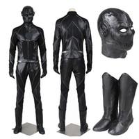 máscara de herói negro venda por atacado-Popular super hero filme a temporada de flash zoom flash preto traje cosplay traje vilão completo com sapatos máscara para o dia das bruxas