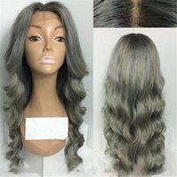Wholesale Two Tone Synthetic Lace Wig - Two Tone Ombre 1b grey body wave Hair Lace Front Wig Synthetic African American Ombre Wigs