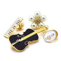 Wholesale Wholesale Piano Crystal - Luxury Simulated-pearl Flower Brooches For Women Black Violin White Piano Note Brooch Pins Gold Plated Fashion Jewelry 4 Pcs set