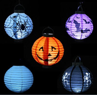 Wholesale Paper Lanterns Bulbs - LED Halloween Pumpkin Lights Lamp Paper Lantern Spiders Bats Skull Pattern Decoration Supplies Bulbs Ballons Lamps for Kids Festival Sale