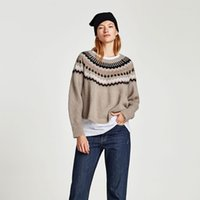Wholesale Cheap Geometric Sweaters - New Fashion Women Clothes Winter Casual Knitted Pullover Sweater Cheap Loose Knitwear Geometric Pattern Long Sleeve Jewel Neck Grey Pullover