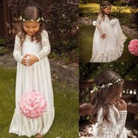 Wholesale Cheap T Shirts For Kids - Cheap Custom Made Floor Length Flower Girl Dresses for Weddings Vintage Lace Long Sleeves Bow Sash Boho Wedding Kids Pageant Formal Wear